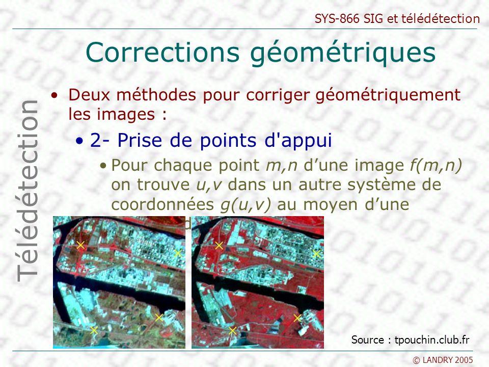 SYS-866 SIG et télédétection © LANDRY 2005 Corrections géométriques Deux méthodes pour corriger géométriquement les images : 2- Prise de points d'appu