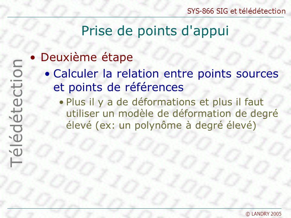 SYS-866 SIG et télédétection © LANDRY 2005 Prise de points d'appui Deuxième étape Calculer la relation entre points sources et points de références Pl