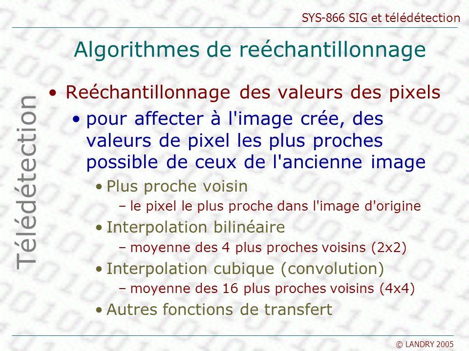 SYS-866 SIG et télédétection © LANDRY 2005 Algorithmes de reéchantillonnage Reéchantillonnage des valeurs des pixels pour affecter à l'image crée, des