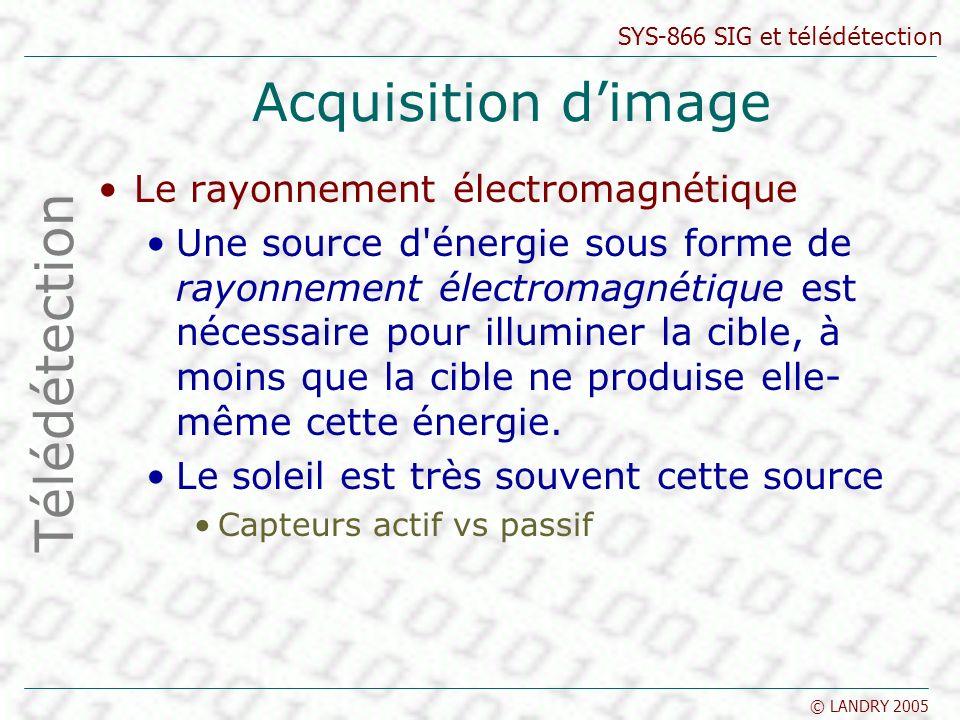SYS-866 SIG et télédétection © LANDRY 2005 Acquisition dimage Le rayonnement électromagnétique Une source d'énergie sous forme de rayonnement électrom