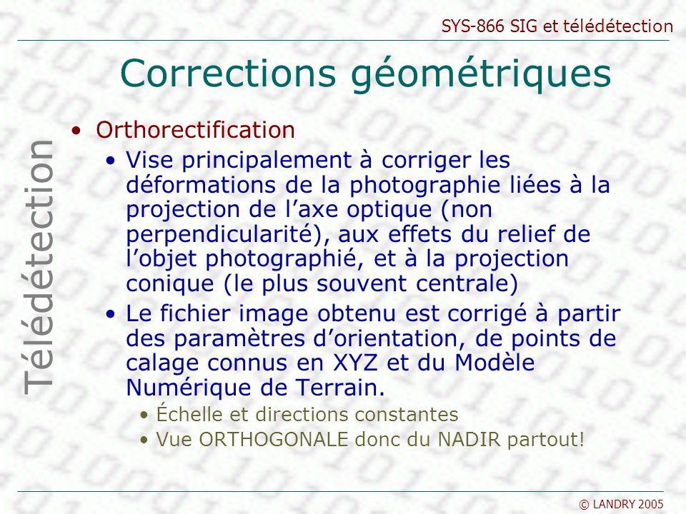 SYS-866 SIG et télédétection © LANDRY 2005 Corrections géométriques Orthorectification Vise principalement à corriger les déformations de la photograp
