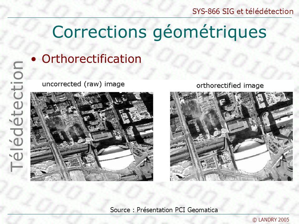 SYS-866 SIG et télédétection © LANDRY 2005 Corrections géométriques Orthorectification Télédétection Source : Présentation PCI Geomatica