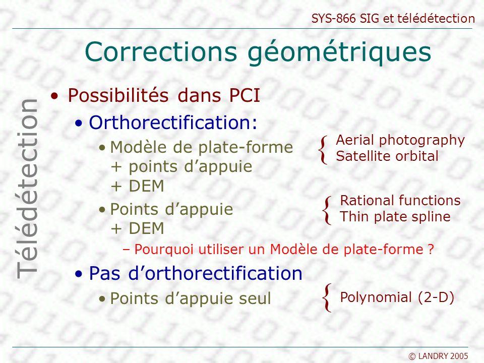 SYS-866 SIG et télédétection © LANDRY 2005 Corrections géométriques Possibilités dans PCI Orthorectification: Modèle de plate-forme + points dappuie +