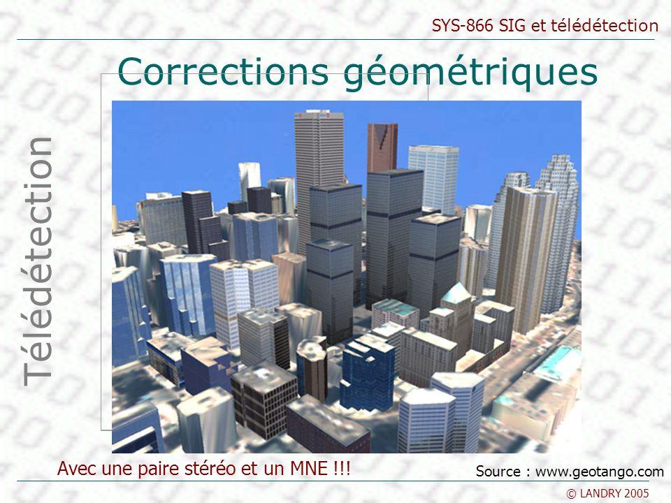 SYS-866 SIG et télédétection © LANDRY 2005 Corrections géométriques Télédétection Avec une paire stéréo et un MNE !!! Source : www.geotango.com