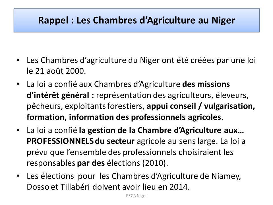 Rappel : Les Chambres dAgriculture au Niger Les Chambres dagriculture du Niger ont été créées par une loi le 21 août 2000. La loi a confié aux Chambre