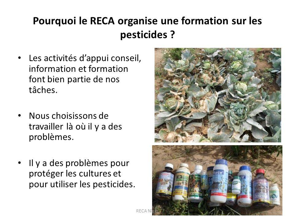 Pourquoi le RECA organise une formation sur les pesticides ? Les activités dappui conseil, information et formation font bien partie de nos tâches. No