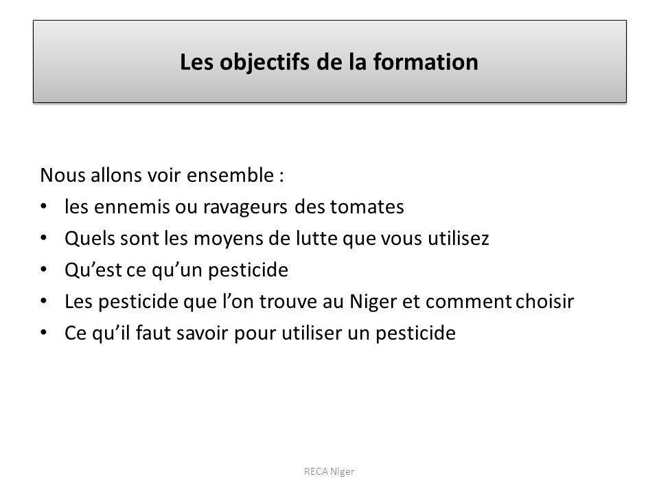 Les objectifs de la formation Nous allons voir ensemble : les ennemis ou ravageurs des tomates Quels sont les moyens de lutte que vous utilisez Quest ce quun pesticide Les pesticide que lon trouve au Niger et comment choisir Ce quil faut savoir pour utiliser un pesticide RECA Niger