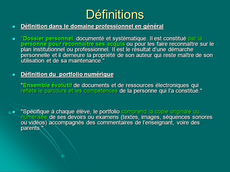 Définitions Définition dans le domaine professionnel en général Définition dans le domaine professionnel en général