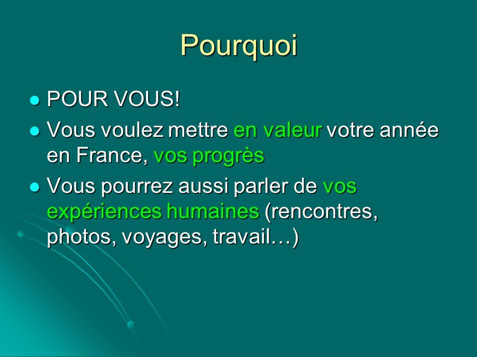 Pourquoi POUR VOUS! Vous voulez mettre en valeur votre année en France, vos progrès Vous pourrez aussi parler de vos expériences humaines (rencontres,