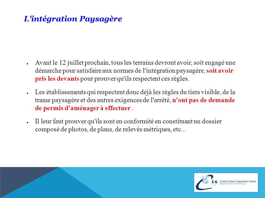 L'intégration Paysagère Avant le 12 juillet prochain, tous les terrains devront avoir, soit engagé une démarche pour satisfaire aux normes de l'intégr