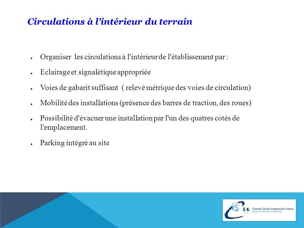 Circulations à l'intérieur du terrain Organiser les circulations à l'intérieur de l'établissement par : Eclairage et signalétique appropriée Voies de