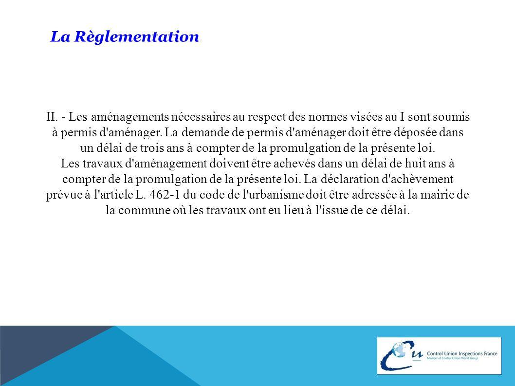 La Règlementation II. - Les aménagements nécessaires au respect des normes visées au I sont soumis à permis d'aménager. La demande de permis d'aménage