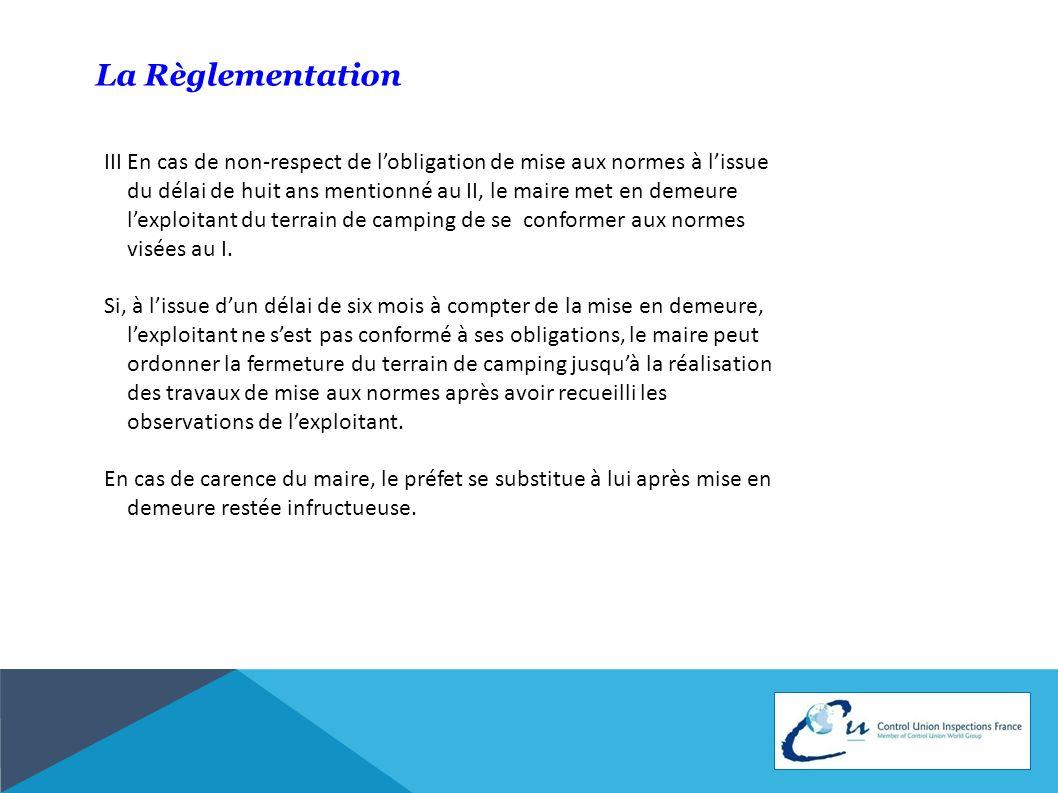 La Règlementation IV.