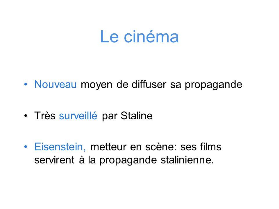 Le cinéma Nouveau moyen de diffuser sa propagande Très surveillé par Staline Eisenstein, metteur en scène: ses films servirent à la propagande stalini
