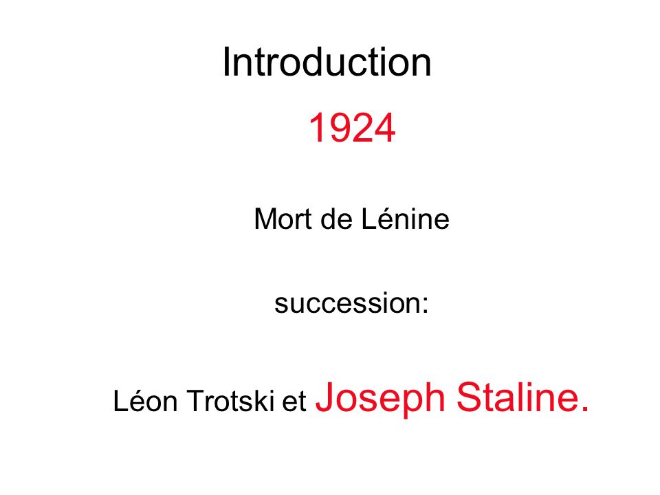 1924 Mort de Lénine succession: Léon Trotski et Joseph Staline. Introduction