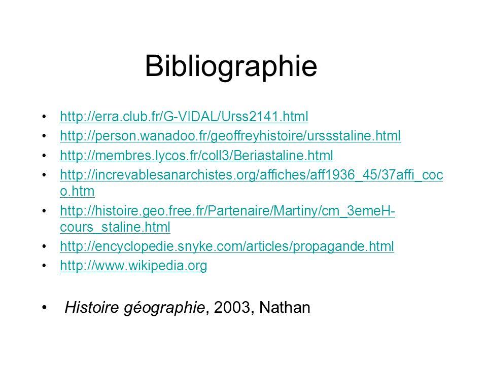 Bibliographie http://erra.club.fr/G-VIDAL/Urss2141.html http://person.wanadoo.fr/geoffreyhistoire/urssstaline.html http://membres.lycos.fr/coll3/Beria