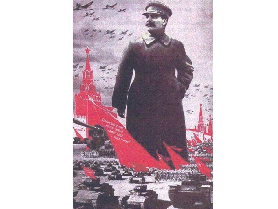 Staline en grand = force Il porte des habits militaires = CHEF de larmée Une immense armée lentoure = puissance militaire En arrière plan, le Kremlin = cœur du communisme Le Kremlin en rouge = couleur du parti communisme