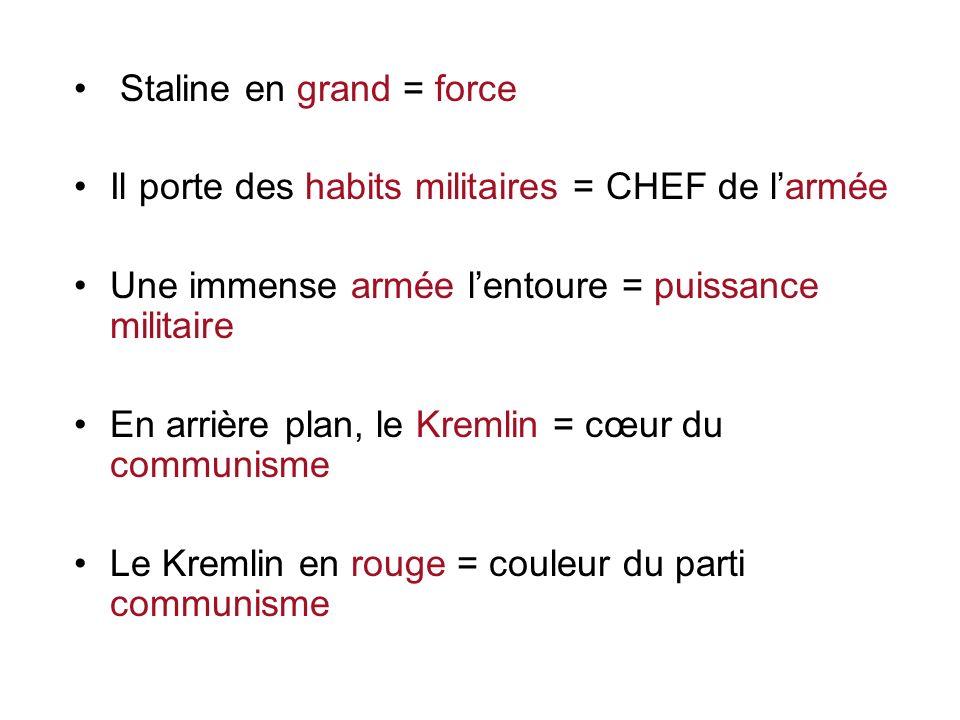Staline en grand = force Il porte des habits militaires = CHEF de larmée Une immense armée lentoure = puissance militaire En arrière plan, le Kremlin