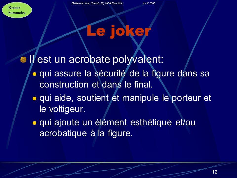 Retour Sommaire Delémont José, Carrels 18, 2000 NeuchâtelAvril 2005 12 Le joker Il est un acrobate polyvalent: qui assure la sécurité de la figure dan