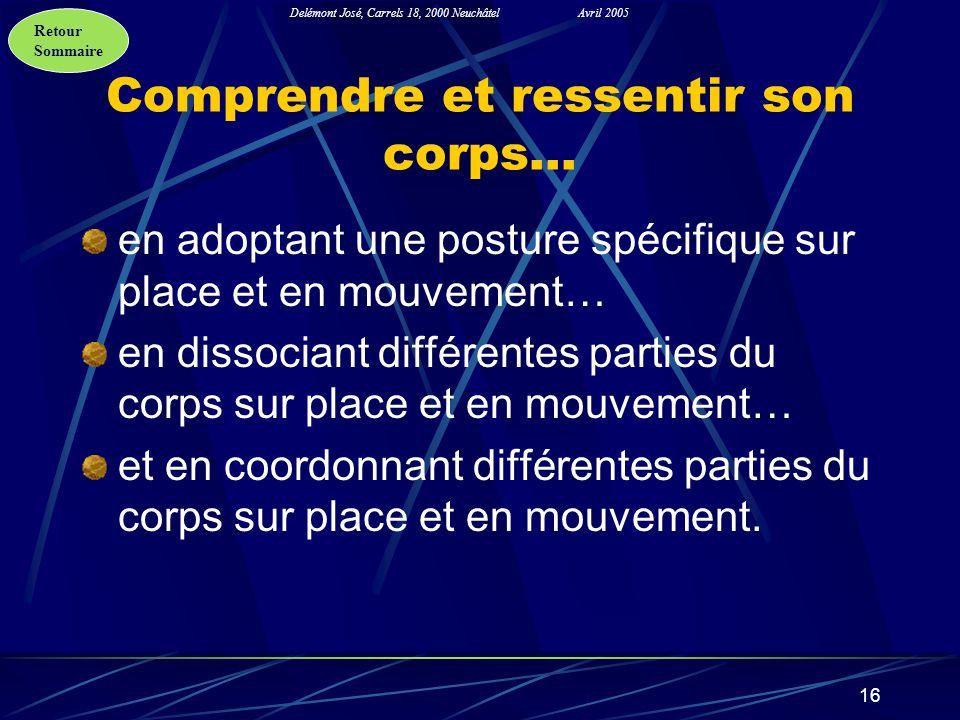 Retour Sommaire Delémont José, Carrels 18, 2000 NeuchâtelAvril 2005 16 Comprendre et ressentir son corps… en adoptant une posture spécifique sur place