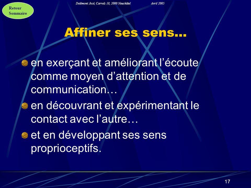 Retour Sommaire Delémont José, Carrels 18, 2000 NeuchâtelAvril 2005 17 Affiner ses sens… en exerçant et améliorant lécoute comme moyen dattention et d