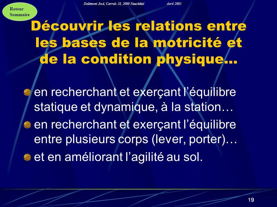 Retour Sommaire Delémont José, Carrels 18, 2000 NeuchâtelAvril 2005 19 Découvrir les relations entre les bases de la motricité et de la condition phys
