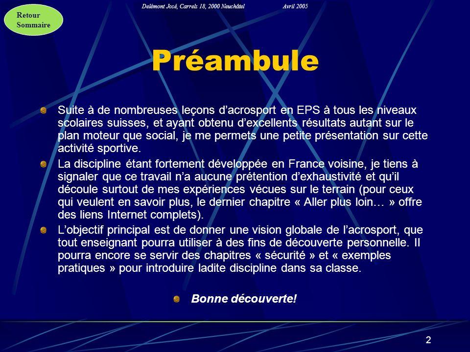 Retour Sommaire Delémont José, Carrels 18, 2000 NeuchâtelAvril 2005 2 Préambule Suite à de nombreuses leçons dacrosport en EPS à tous les niveaux scol