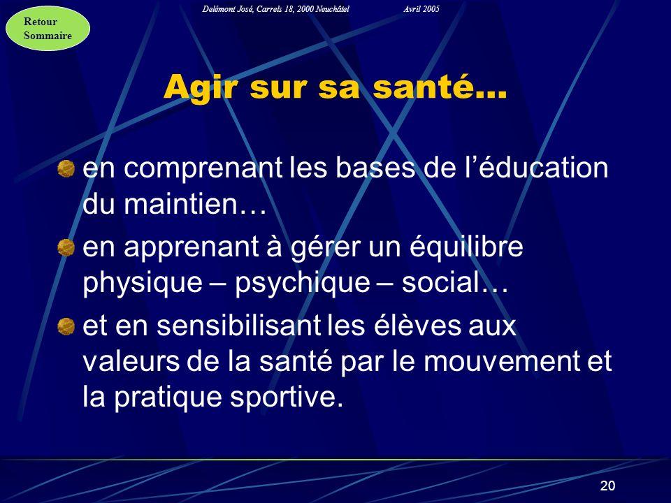 Retour Sommaire Delémont José, Carrels 18, 2000 NeuchâtelAvril 2005 20 Agir sur sa santé… en comprenant les bases de léducation du maintien… en appren