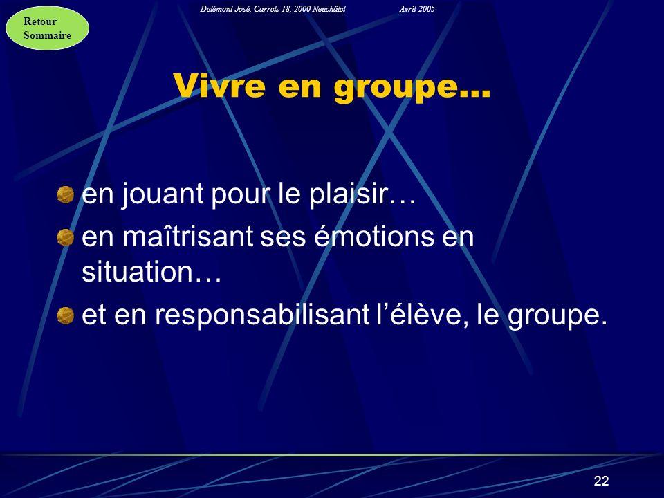 Retour Sommaire Delémont José, Carrels 18, 2000 NeuchâtelAvril 2005 22 Vivre en groupe… en jouant pour le plaisir… en maîtrisant ses émotions en situa