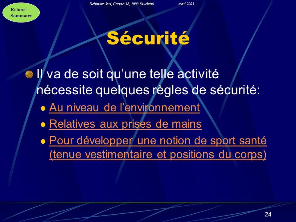 Retour Sommaire Delémont José, Carrels 18, 2000 NeuchâtelAvril 2005 24 Sécurité Il va de soit quune telle activité nécessite quelques règles de sécuri