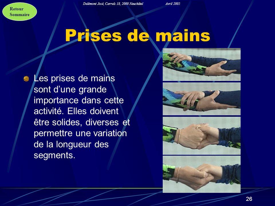 Retour Sommaire Delémont José, Carrels 18, 2000 NeuchâtelAvril 2005 26 Prises de mains Les prises de mains sont dune grande importance dans cette acti