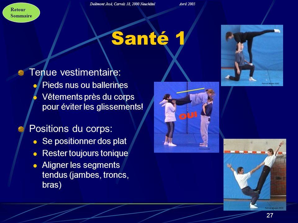 Retour Sommaire Delémont José, Carrels 18, 2000 NeuchâtelAvril 2005 27 Santé 1 Tenue vestimentaire: Pieds nus ou ballerines Vêtements près du corps po