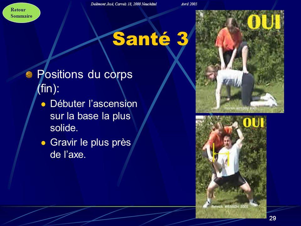Retour Sommaire Delémont José, Carrels 18, 2000 NeuchâtelAvril 2005 29 Santé 3 Positions du corps (fin): Débuter lascension sur la base la plus solide