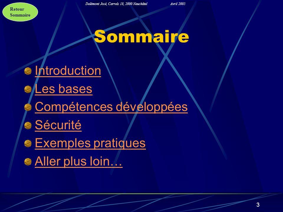 Retour Sommaire Delémont José, Carrels 18, 2000 NeuchâtelAvril 2005 3 Sommaire Introduction Les bases Compétences développées Sécurité Exemples pratiq