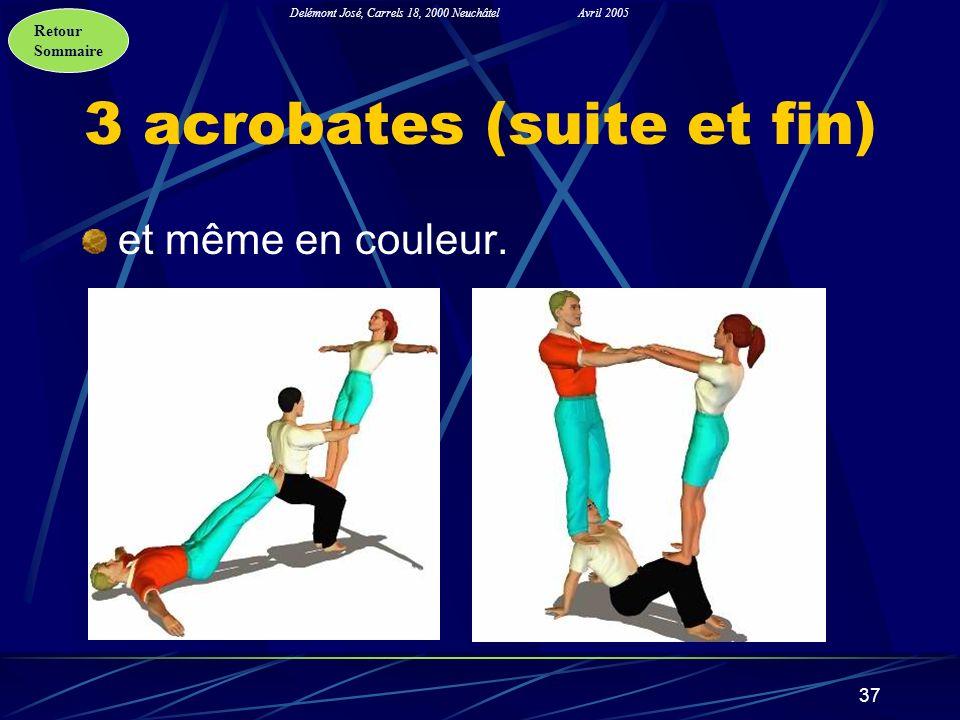 Retour Sommaire Delémont José, Carrels 18, 2000 NeuchâtelAvril 2005 37 3 acrobates (suite et fin) et même en couleur.
