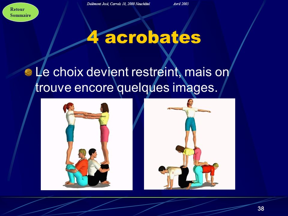 Retour Sommaire Delémont José, Carrels 18, 2000 NeuchâtelAvril 2005 38 4 acrobates Le choix devient restreint, mais on trouve encore quelques images.