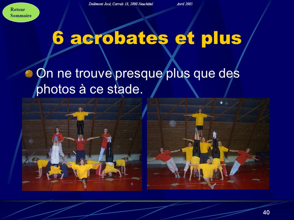 Retour Sommaire Delémont José, Carrels 18, 2000 NeuchâtelAvril 2005 40 6 acrobates et plus On ne trouve presque plus que des photos à ce stade.