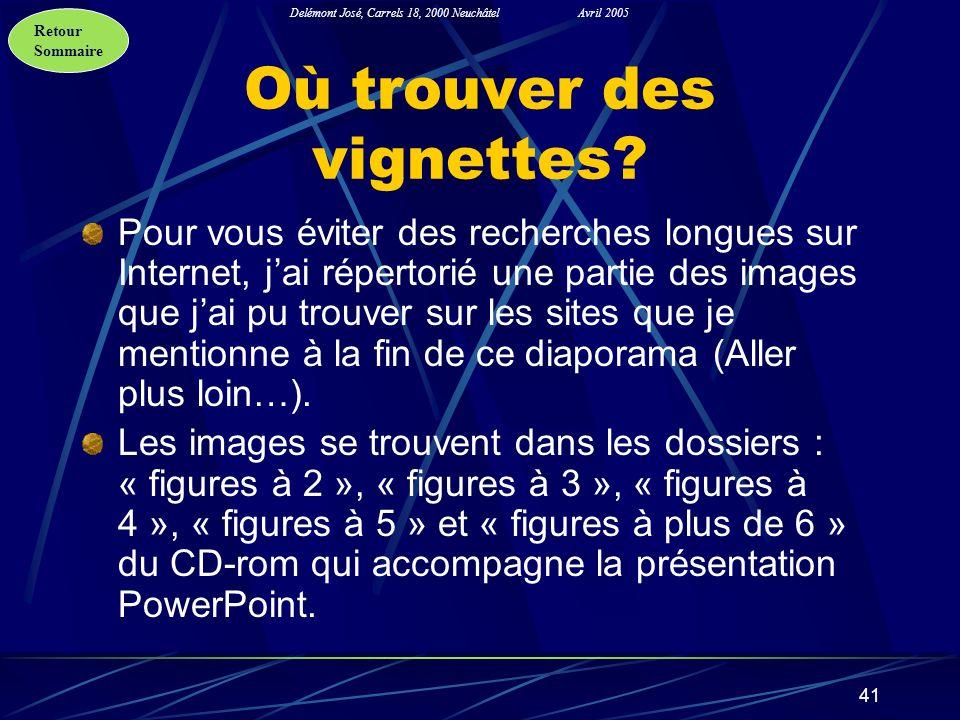Retour Sommaire Delémont José, Carrels 18, 2000 NeuchâtelAvril 2005 41 Où trouver des vignettes? Pour vous éviter des recherches longues sur Internet,