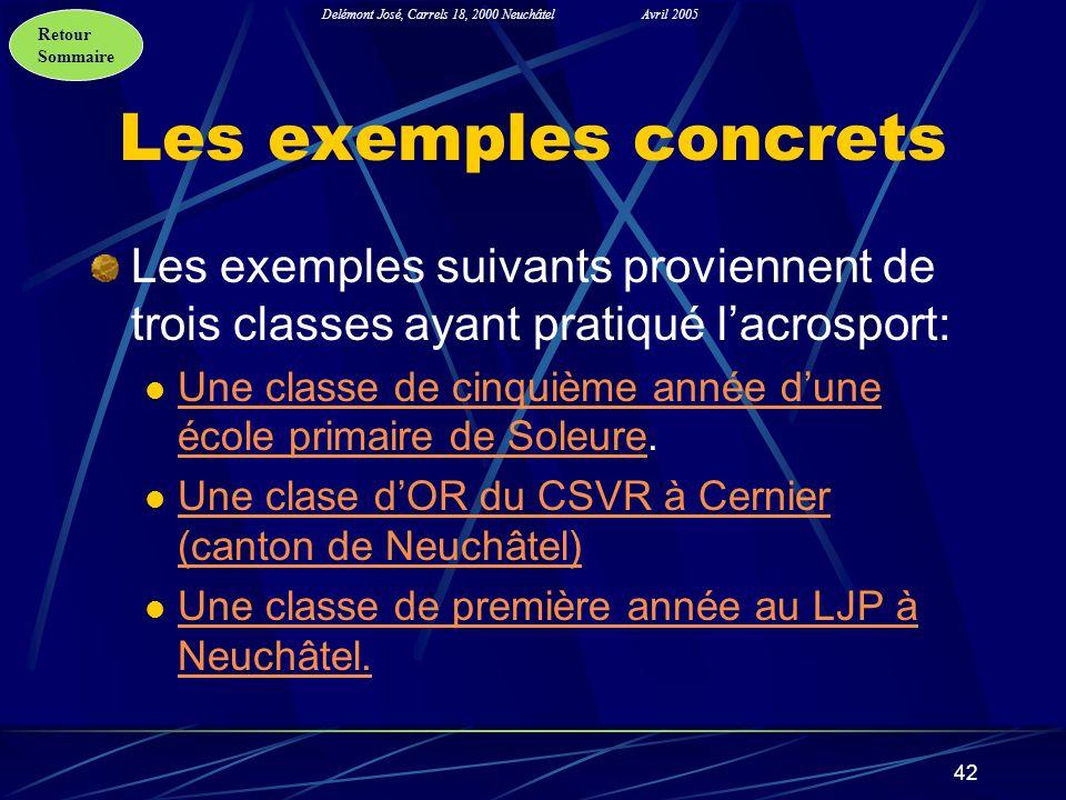 Retour Sommaire Delémont José, Carrels 18, 2000 NeuchâtelAvril 2005 42 Les exemples concrets Les exemples suivants proviennent de trois classes ayant