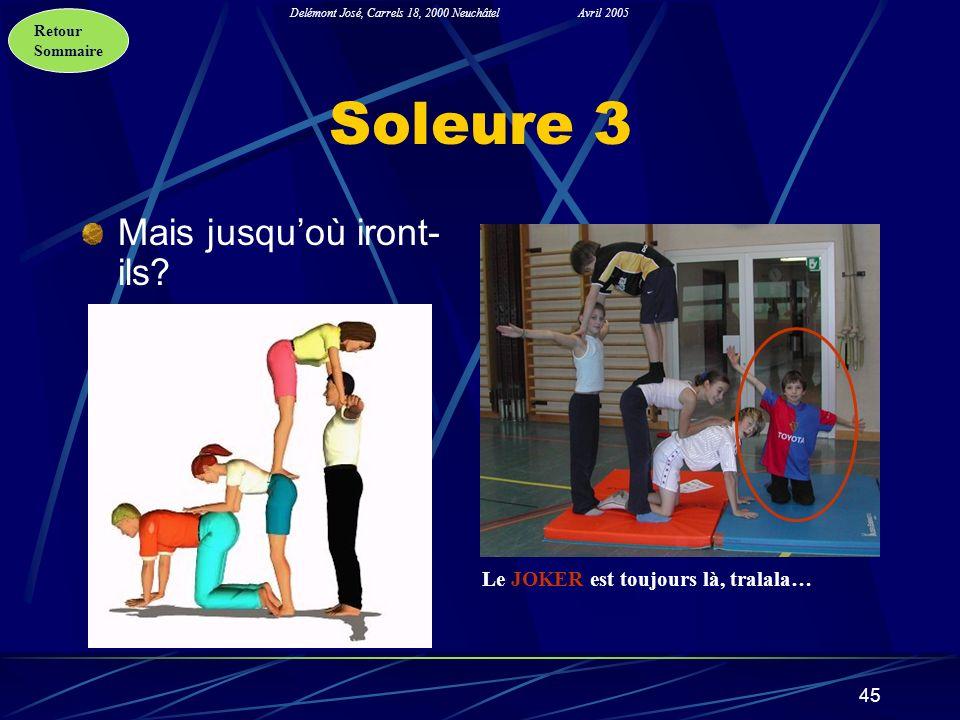 Retour Sommaire Delémont José, Carrels 18, 2000 NeuchâtelAvril 2005 45 Soleure 3 Mais jusquoù iront- ils? Le JOKER est toujours là, tralala…