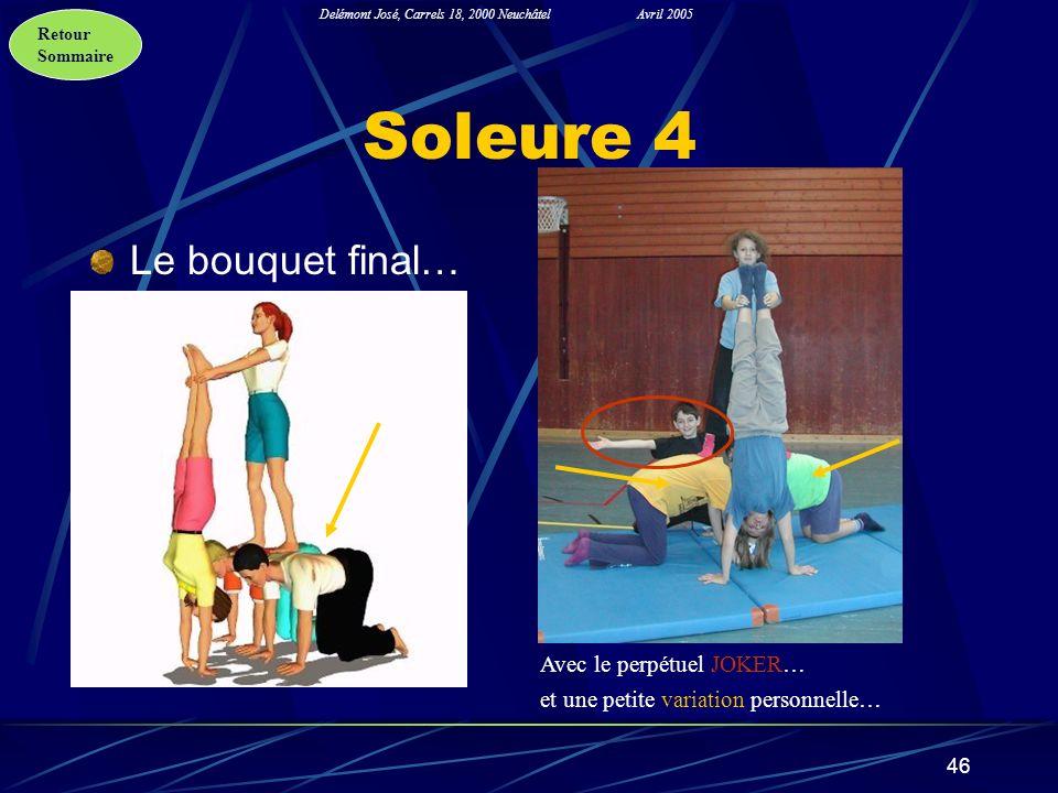 Retour Sommaire Delémont José, Carrels 18, 2000 NeuchâtelAvril 2005 46 Soleure 4 Le bouquet final… Avec le perpétuel JOKER… et une petite variation pe