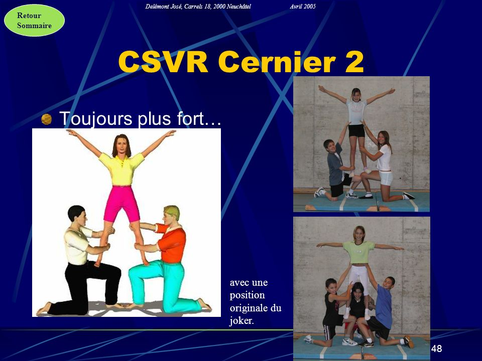 Retour Sommaire Delémont José, Carrels 18, 2000 NeuchâtelAvril 2005 48 CSVR Cernier 2 Toujours plus fort… avec une position originale du joker.