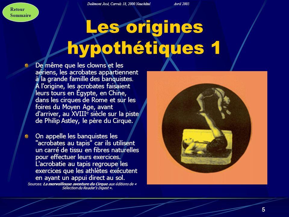 Retour Sommaire Delémont José, Carrels 18, 2000 NeuchâtelAvril 2005 5 Les origines hypothétiques 1 De même que les clowns et les aériens, les acrobate