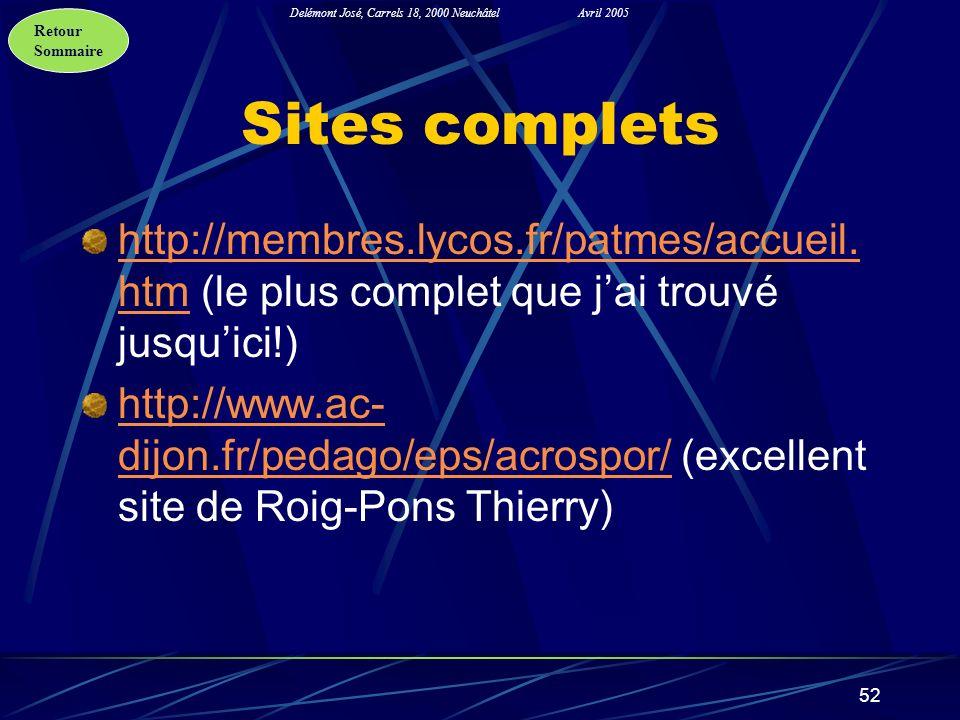 Retour Sommaire Delémont José, Carrels 18, 2000 NeuchâtelAvril 2005 52 Sites complets http://membres.lycos.fr/patmes/accueil. htmhttp://membres.lycos.