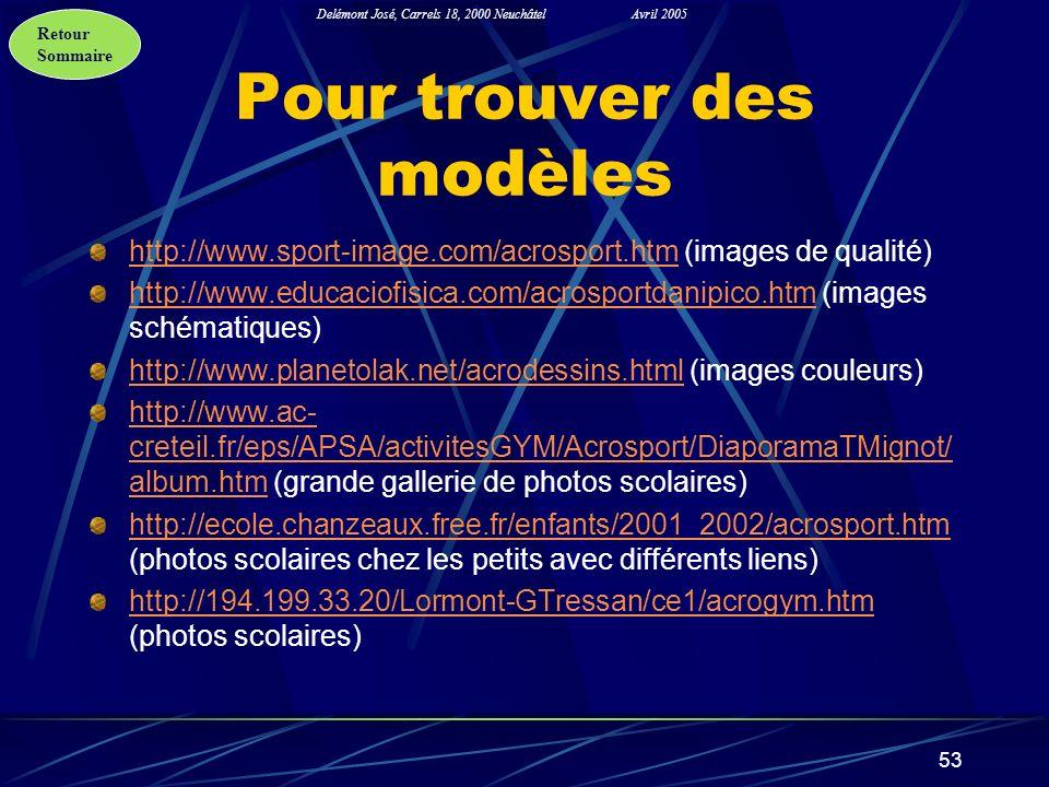 Retour Sommaire Delémont José, Carrels 18, 2000 NeuchâtelAvril 2005 53 Pour trouver des modèles http://www.sport-image.com/acrosport.htmhttp://www.spo