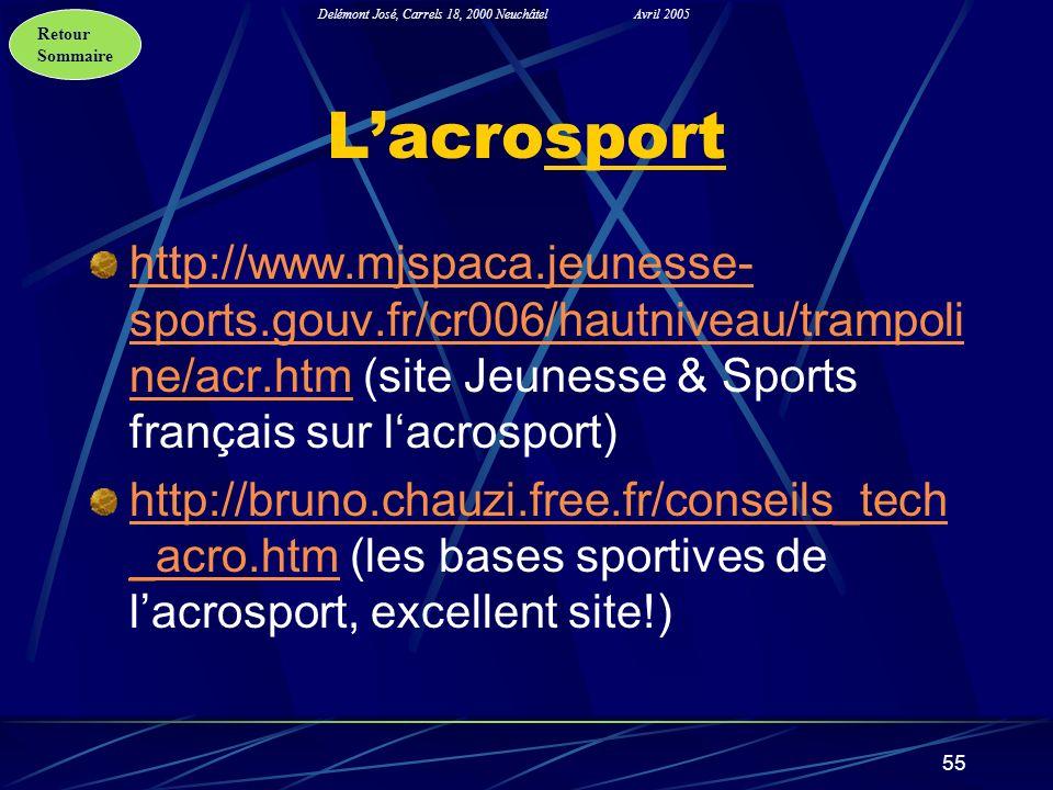 Retour Sommaire Delémont José, Carrels 18, 2000 NeuchâtelAvril 2005 55 Lacrosport http://www.mjspaca.jeunesse- sports.gouv.fr/cr006/hautniveau/trampol