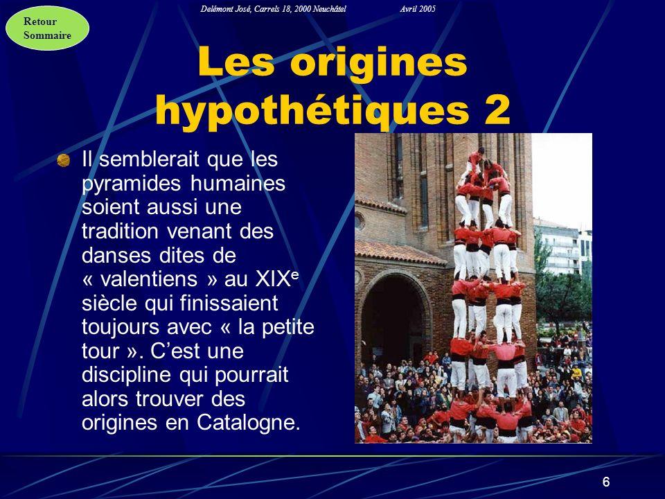 Retour Sommaire Delémont José, Carrels 18, 2000 NeuchâtelAvril 2005 6 Les origines hypothétiques 2 Il semblerait que les pyramides humaines soient aus