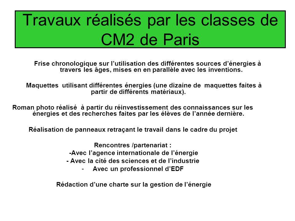Travaux réalisés par les classes de CM2 de Paris Frise chronologique sur lutilisation des différentes sources dénergies à travers les âges, mises en en parallèle avec les inventions.
