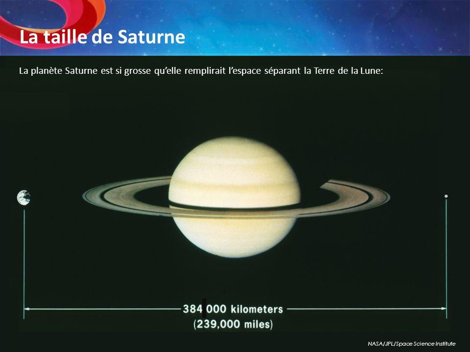 La planète Saturne est si grosse quelle remplirait lespace séparant la Terre de la Lune: NASA/JPL/Space Science Institute La taille de Saturne