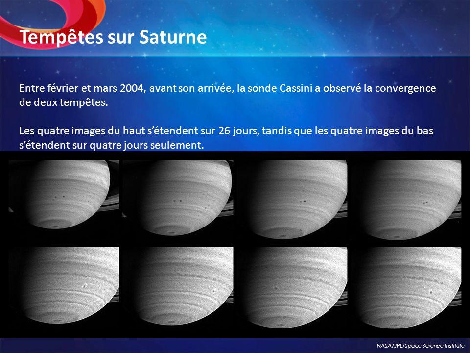 Entre février et mars 2004, avant son arrivée, la sonde Cassini a observé la convergence de deux tempêtes. Les quatre images du haut sétendent sur 26